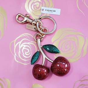 Coach Red Glitter Cherry Keychain Charm
